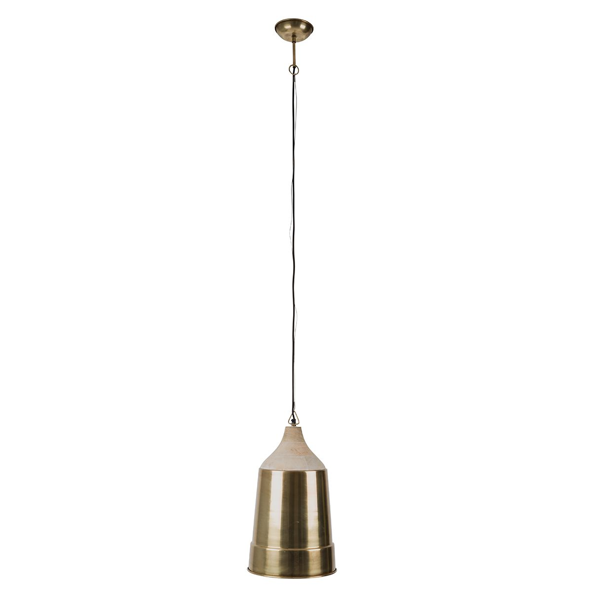 Suspension cloche XL en métal et manguier Wood Dutchbone - laiton