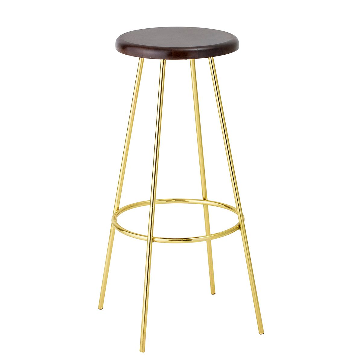 tabouret de bar en m tal couleur or assise noire bloomingville decoclico. Black Bedroom Furniture Sets. Home Design Ideas