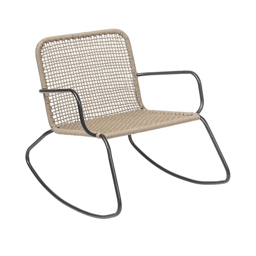 Rocking chair structure métal noir assise nylon crème Bloomingville