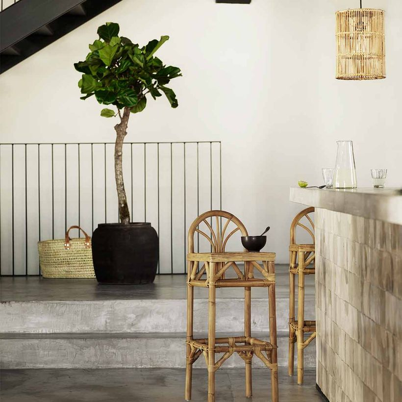 Tabouret de bar en rotin naturel Tine K Home