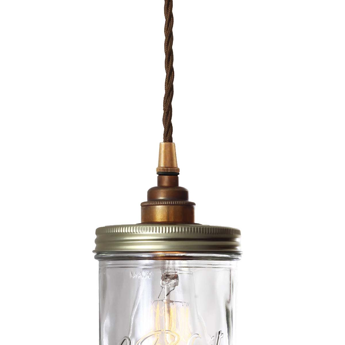 Suspension bocal Le Parfait en verre et laiton Jam Jar Mullan Lighting