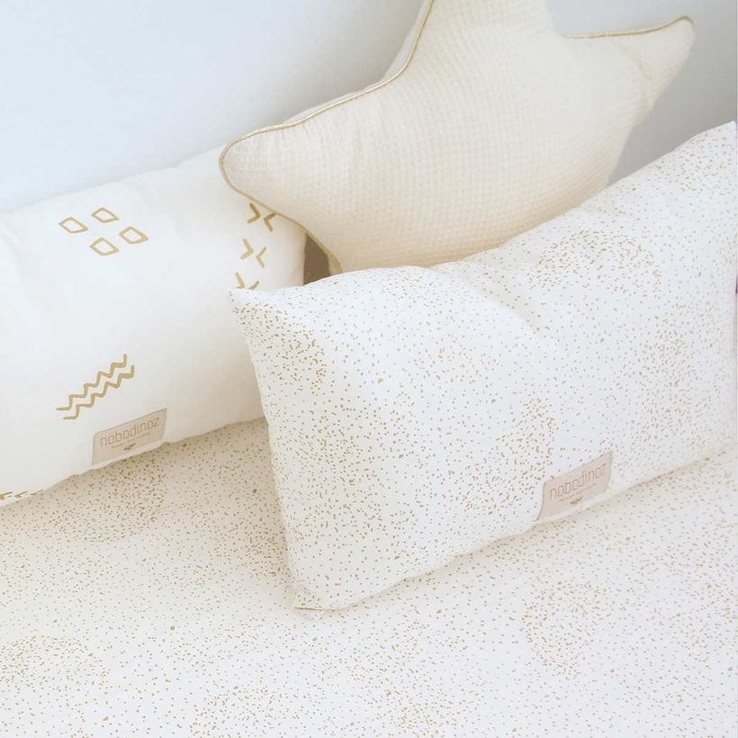Coussin coton Laurel Gold Bubble White Nobodinoz 22x35 cm