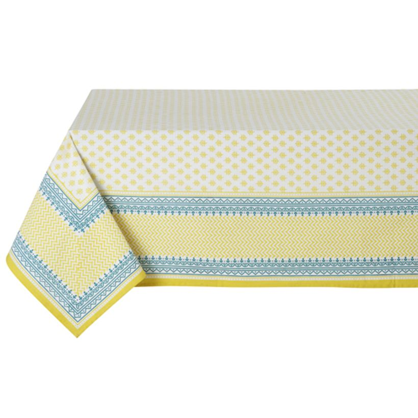 nappe en coton jaune et turquoise lina athezza decoclico. Black Bedroom Furniture Sets. Home Design Ideas