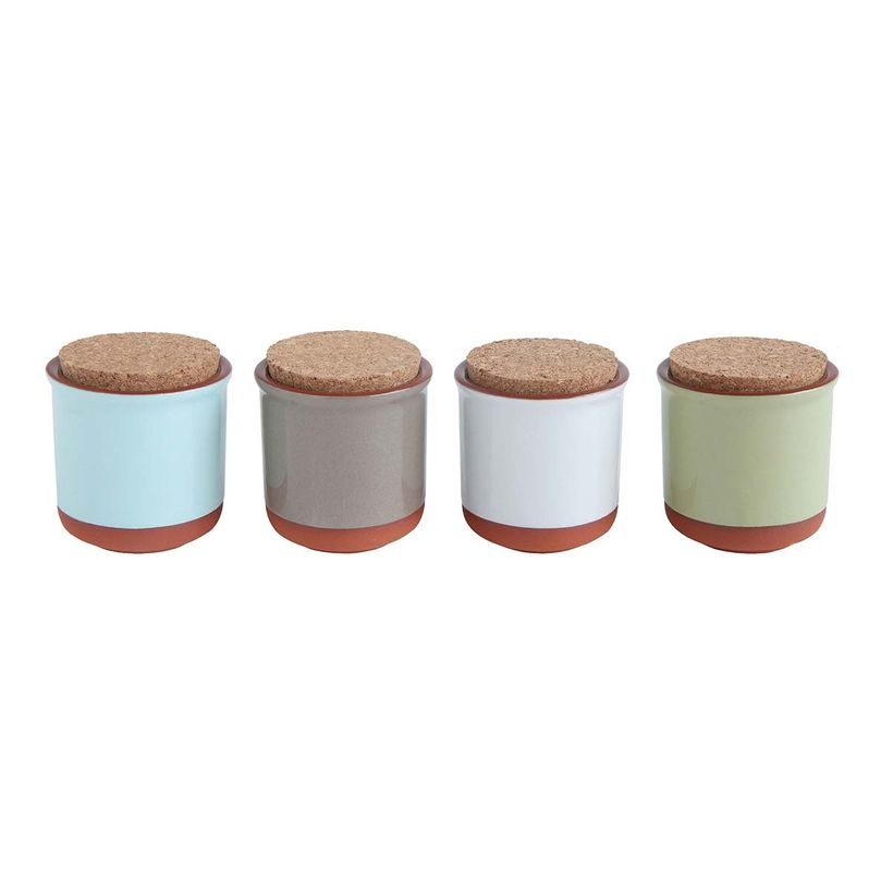 Pot de conservation en terracotta et couvercle en liège (lot de 4) Bloomingville