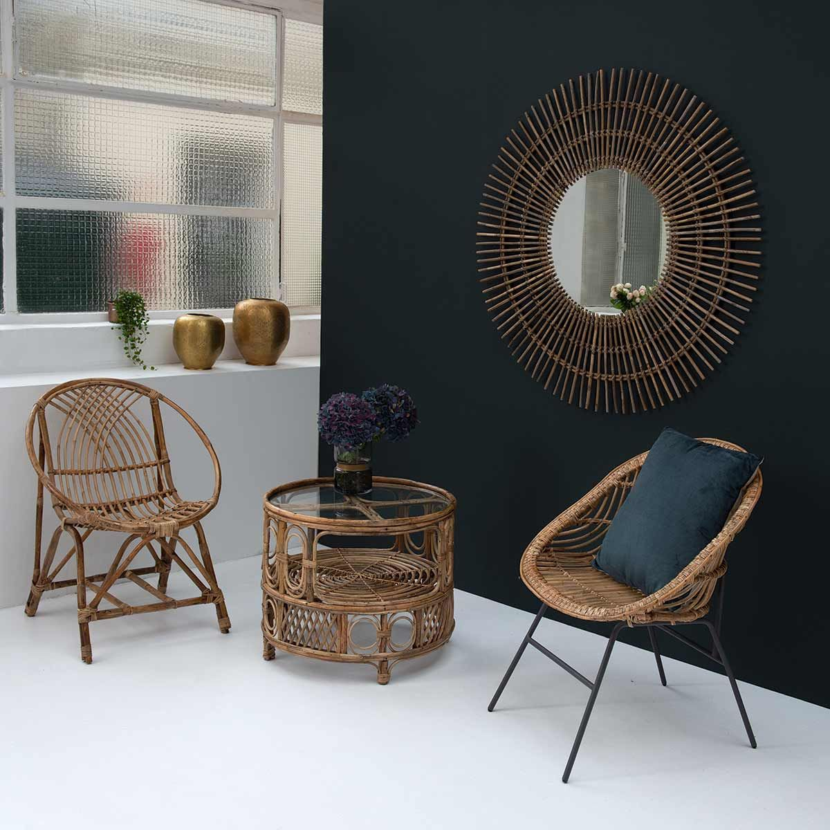 miroir rond en rotin naturel tress decoclico. Black Bedroom Furniture Sets. Home Design Ideas