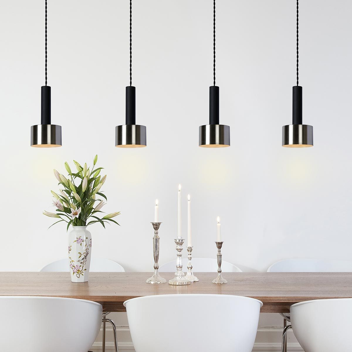 Suspension quadruple en acier noir et chrome Teun Lucide