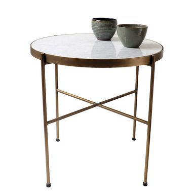 Table Basse Ronde Plateau Marbre Italien Pied Metal Finition