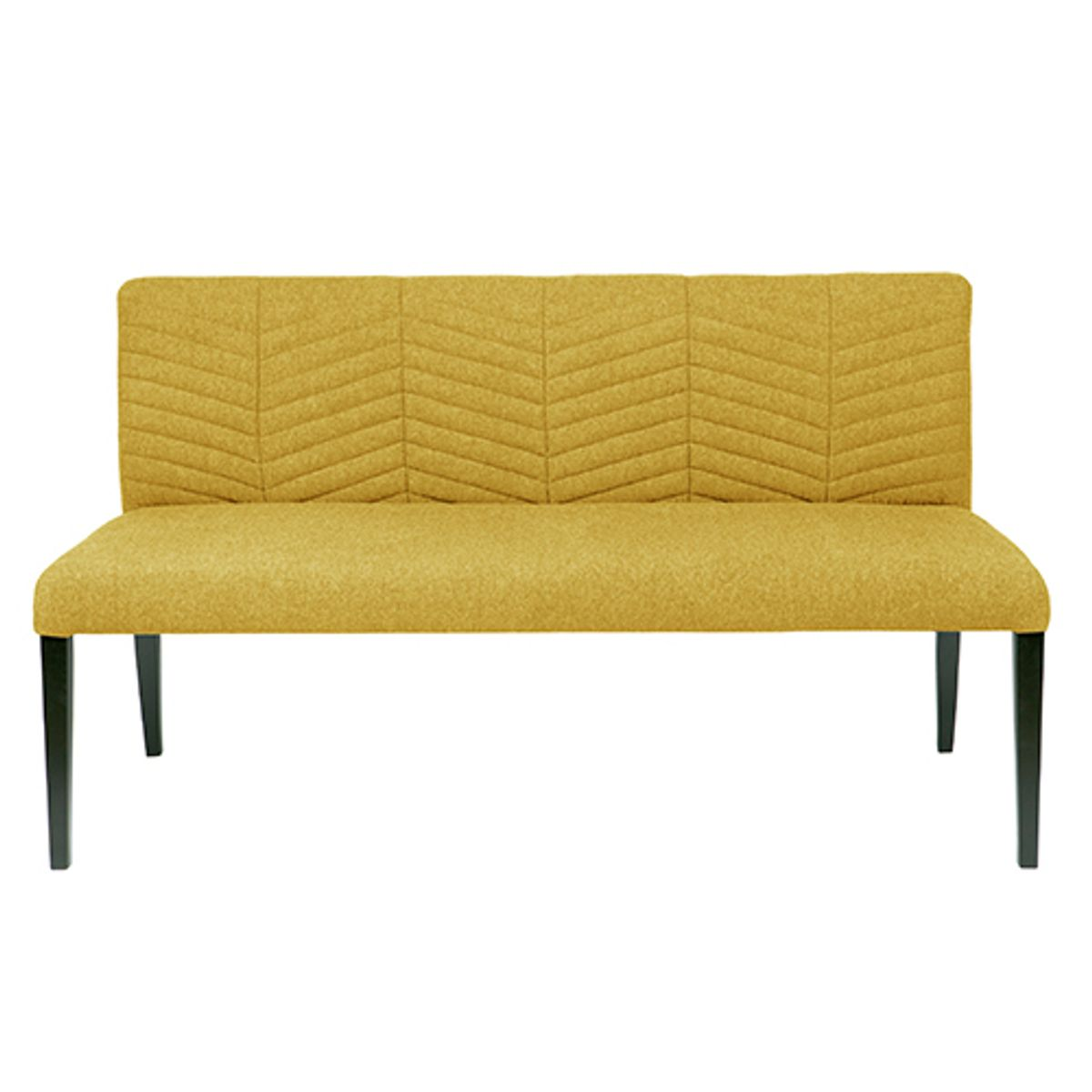 Banquette en tissu polyester couture chevrons Nora  - moutarde