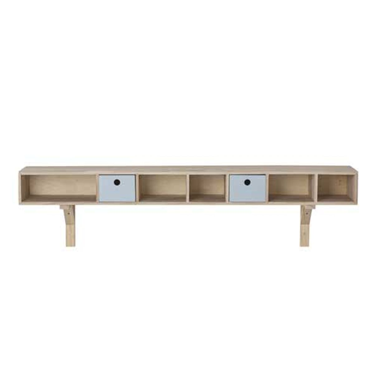 Etagère en bois blond 5 niches 2 tiroirs Bloomingville