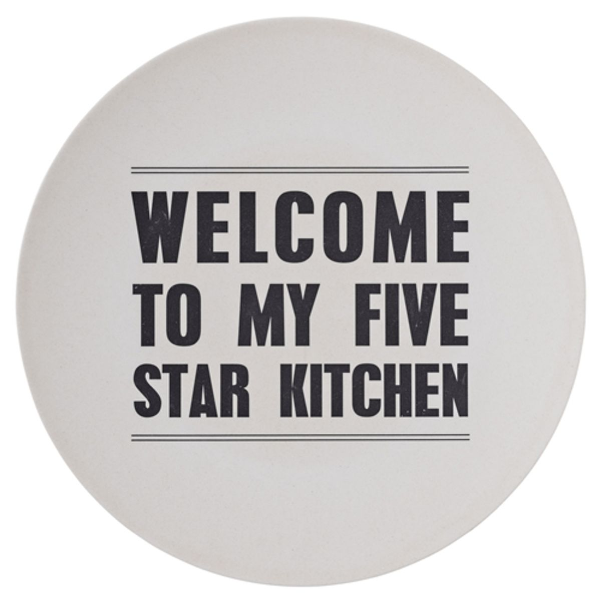 Plat rond en bambou Welcome To My Five Star Kitchen Bloomingville