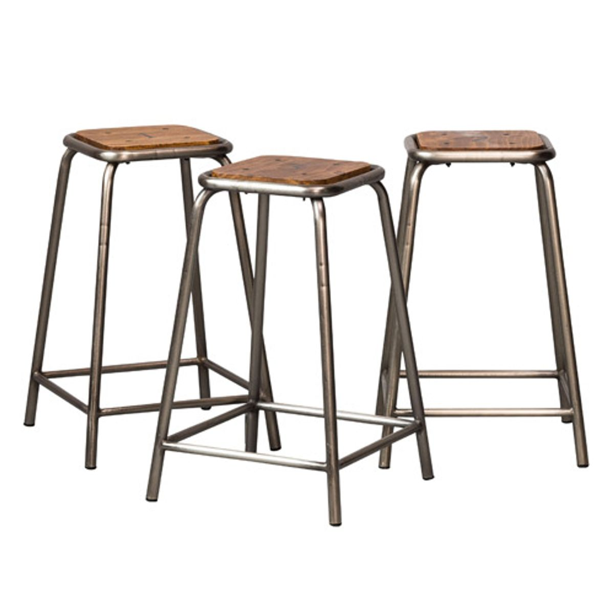 tabouret de bar en bois et m tal set de 3 team chehoma decoclico. Black Bedroom Furniture Sets. Home Design Ideas