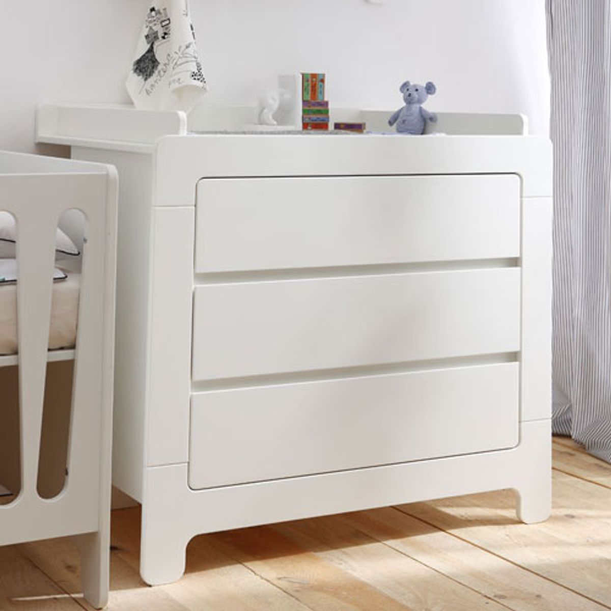 Commode / table à langer en bois blanc 3 tiroirs Moon Pinio
