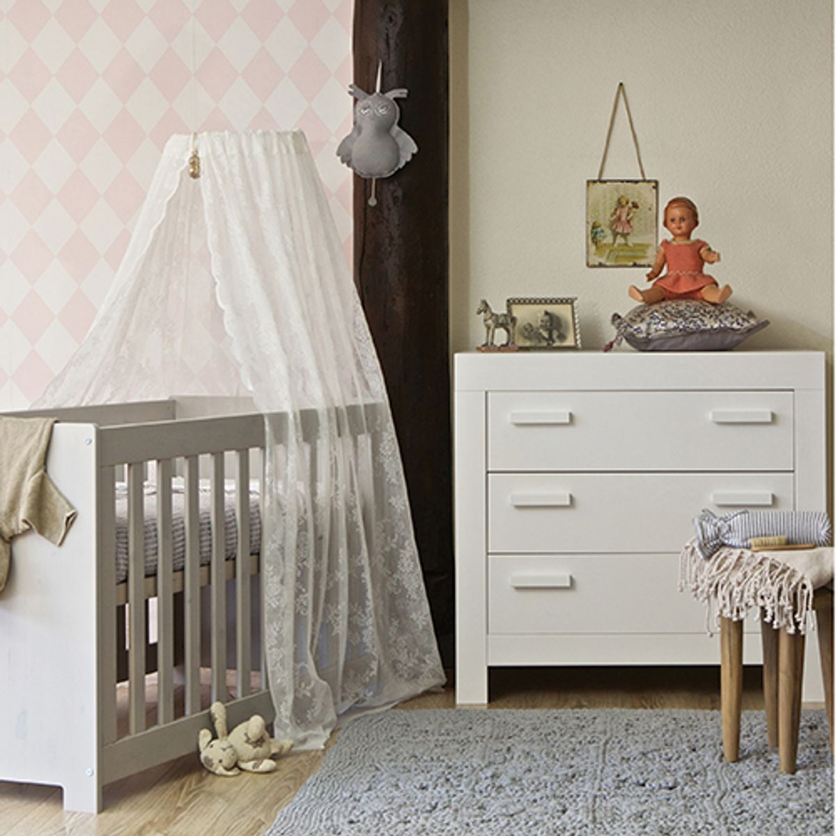 Commode enfant en pin massif FSC New Life - blanc