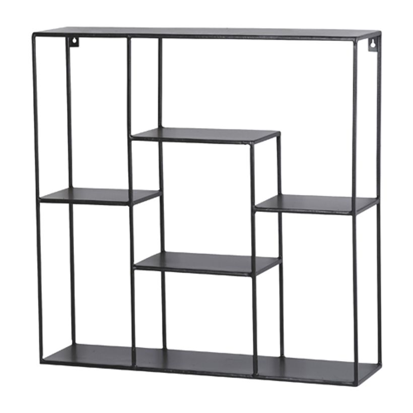Etag re murale ou poser en m tal noir 6 niches anasta athezza decoclico for Etagere murale aluminium
