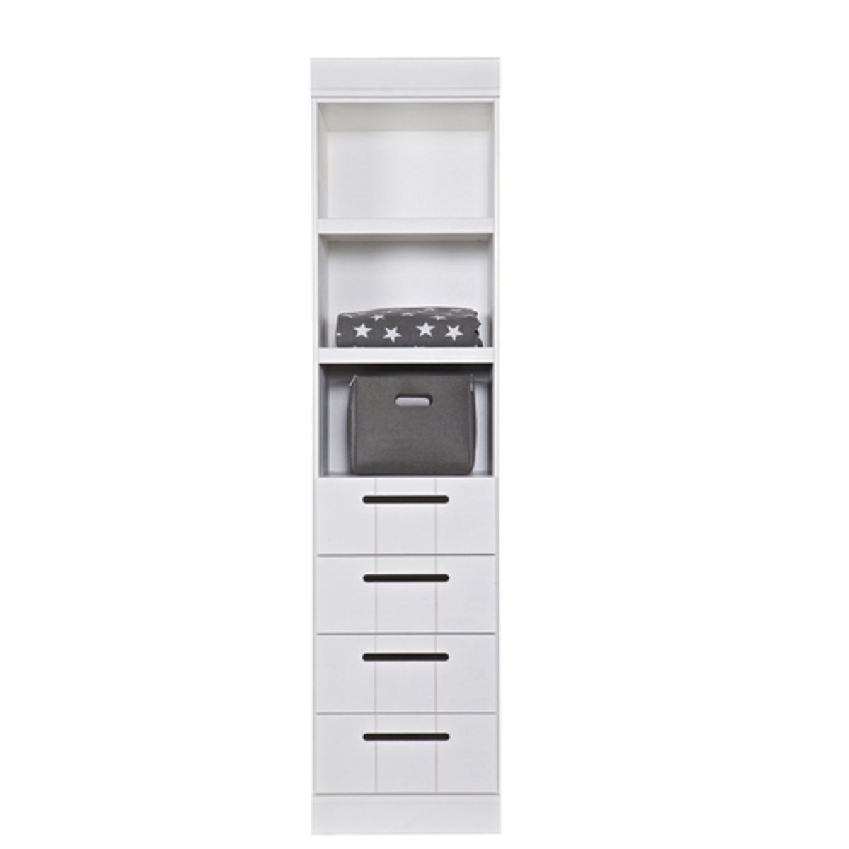 Etagère colonne 4 tiroirs 3 niches en pin Connect -Blanc