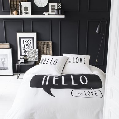 housse de couette 2 taies en coton blanc et noir hello. Black Bedroom Furniture Sets. Home Design Ideas