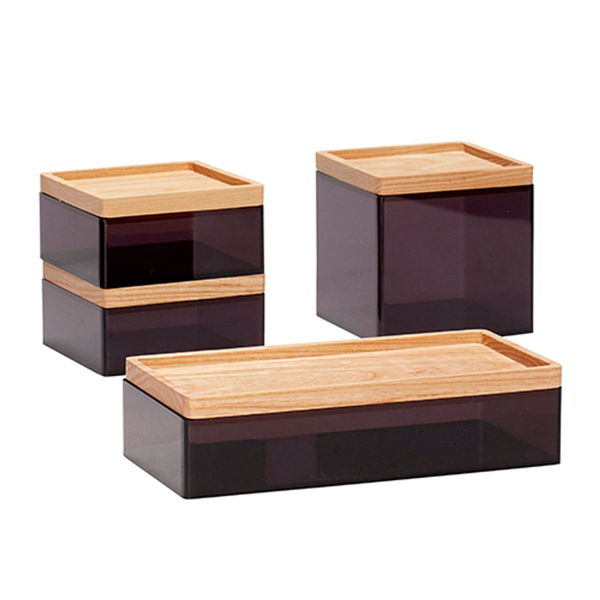 boite en acrylique noir avec couvercle en bois par 4 h bsch decoclico. Black Bedroom Furniture Sets. Home Design Ideas