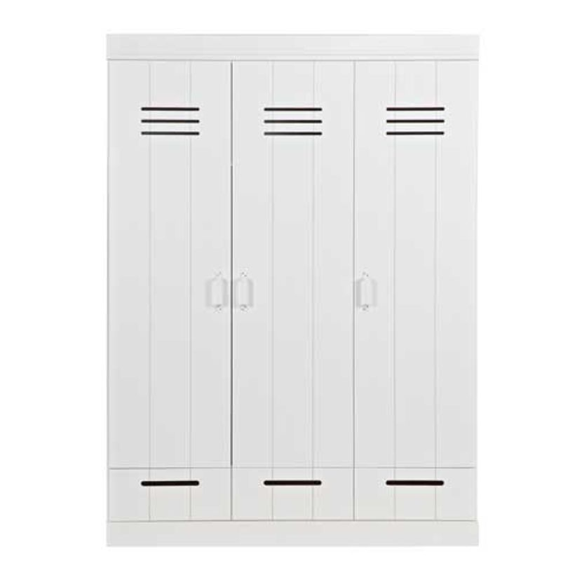 armoire penderie en pin blanc 3p tag res et tiroirs connect m tal decoclico. Black Bedroom Furniture Sets. Home Design Ideas