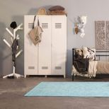 Armoire en pin 3 portes type casier Locker- Blanc
