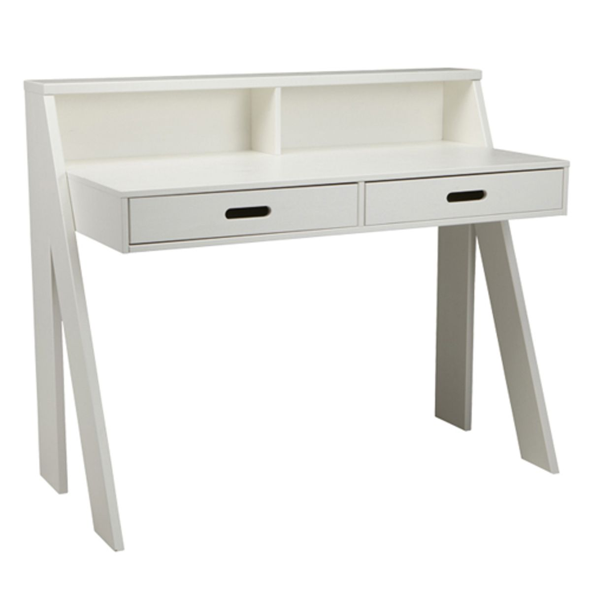 bureau junior en pin massif blanc 2 tiroir max fabrication europ enne decoclico. Black Bedroom Furniture Sets. Home Design Ideas