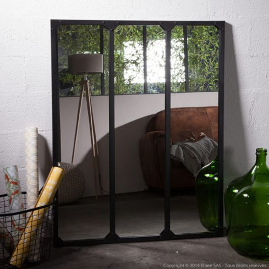 Miroir avec tag re en m tal noir bords arrondis decoclico for Miroir rond xl