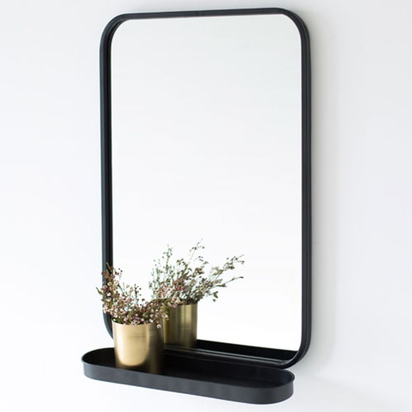 Miroir avec tag re en m tal noir bords arrondis decoclico for Miroir tablette