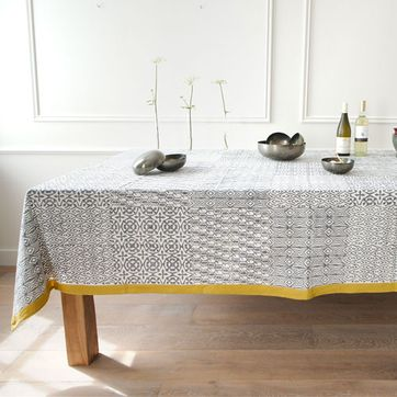 Nappe en coton Big Four Gris et Jaune Windy Hill