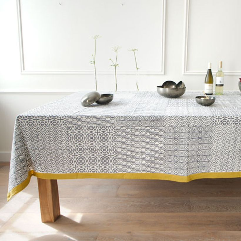 Nappe rectangulaire en coton Big Four Gris et Jaune Windy Hill