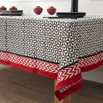 Nappe en coton motif Noir et Rouge Windy Hill