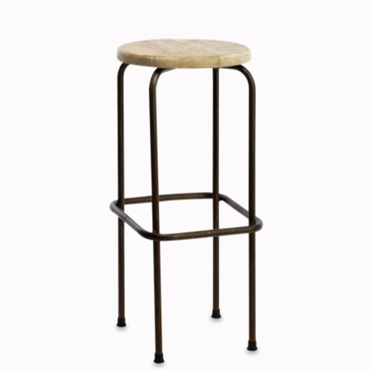tabouret de bar en m tal vieilli et assise en manguier nandi decoclico. Black Bedroom Furniture Sets. Home Design Ideas