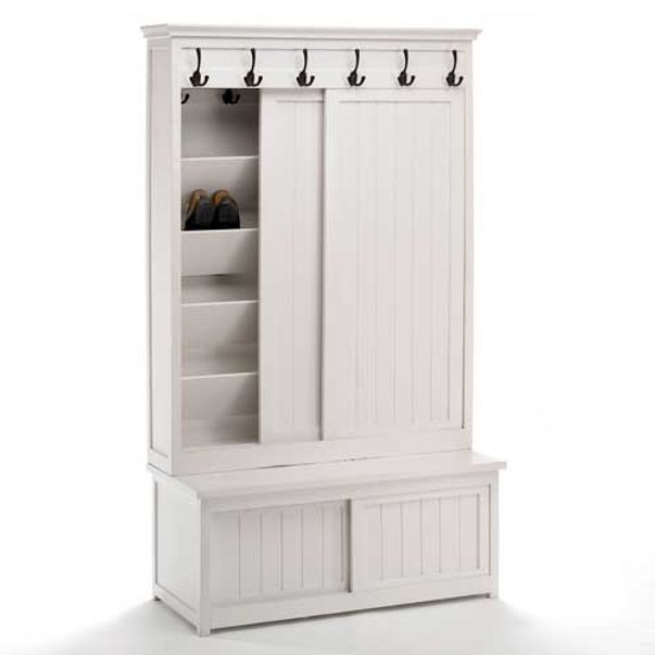 armoire chaussures manguier blanc 6 pat res et 4 portes nordal decoclico. Black Bedroom Furniture Sets. Home Design Ideas