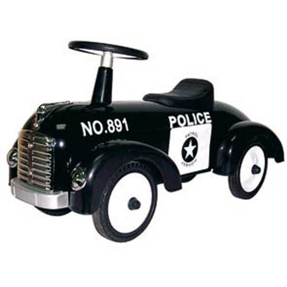 voiture de police pour enfant r tro en m tal noir decoclico. Black Bedroom Furniture Sets. Home Design Ideas