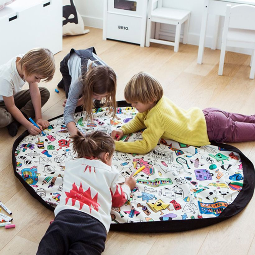 Sac de rangement / tapis de jeu en coton coloriable Omy Play and go