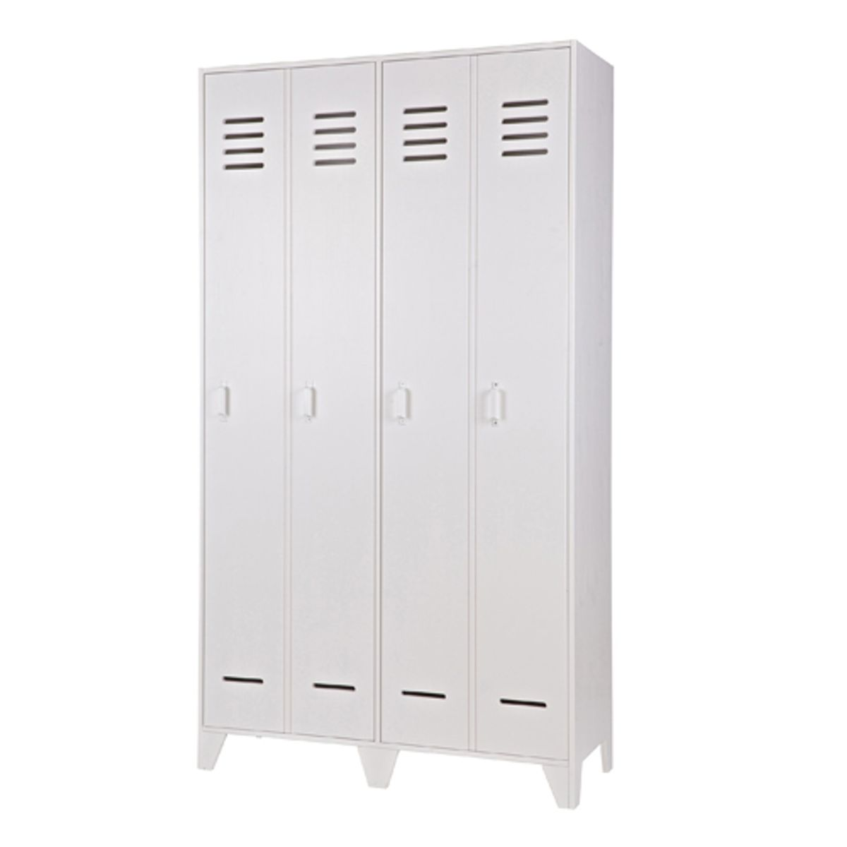 armoire type casier en bois blanc 2 portes doubles avec tag res stijn decoclico. Black Bedroom Furniture Sets. Home Design Ideas