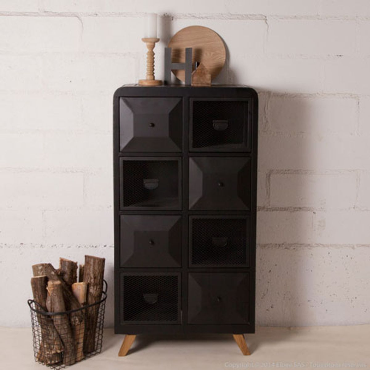 chiffonnier en m tal noir 8 casiers decoclico factory decoclico. Black Bedroom Furniture Sets. Home Design Ideas