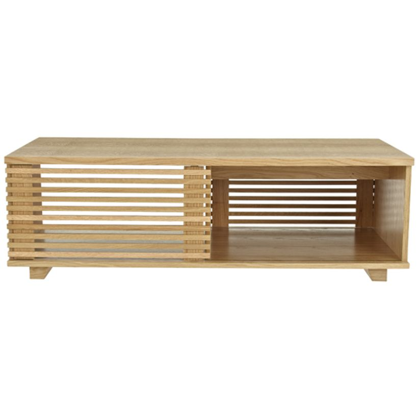 Table basse en ch ne porte persienne coulissante putney - Table basse coulissante ...