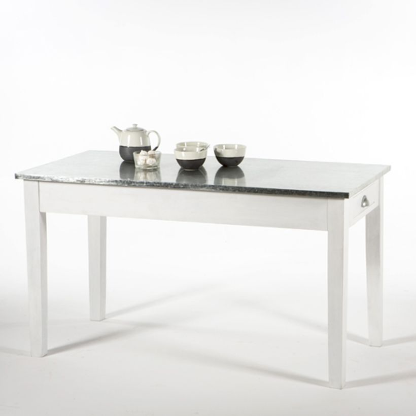 table manger bois blanchi plateau zinc et tiroirs verneuil decoclico. Black Bedroom Furniture Sets. Home Design Ideas