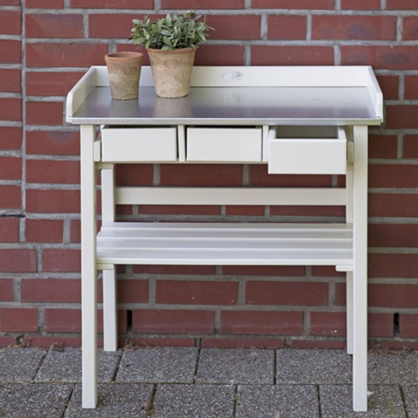 Table de jardinage en pin blanc et zinc 3 tiroirs Farm Folklore