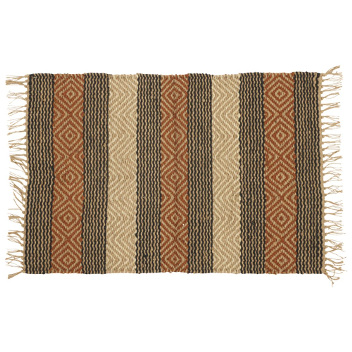 tapis rectangulaire en jute avec motifs athezza orange. Black Bedroom Furniture Sets. Home Design Ideas