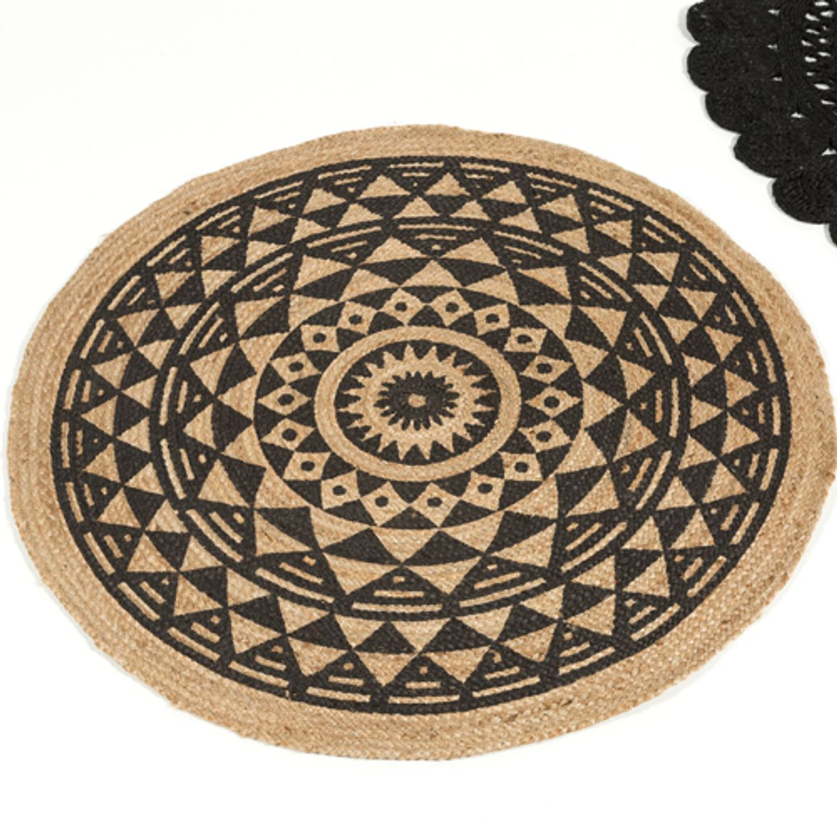 tapis rond r versible en jute naturel tiss main imprim d120 cm decoclico. Black Bedroom Furniture Sets. Home Design Ideas